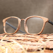 Mężczyźni kobiety okulary dla osób z krótkowzrocznością drewniana ramka z przezroczyste klosze marka Design okulary