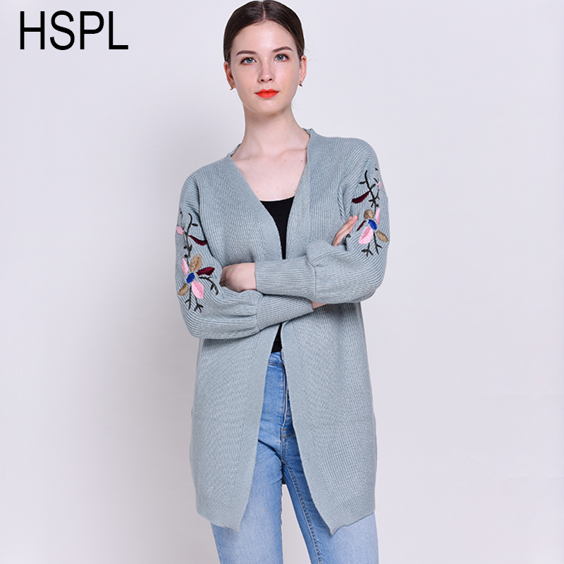 HSPL Long Embroidery Cardigans Sweater Women Female Cardigan Sweater Jacket 2017 Single Breasted Fashion Loose Top Jumper