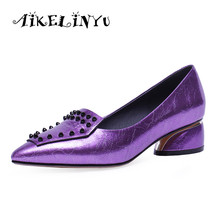 AIKELINYU 2019 Woman Violet Gray Casual Shoes Sexy Pointed Toe Low Heel Rivet Party Genuine Leather Office Lady Shoe