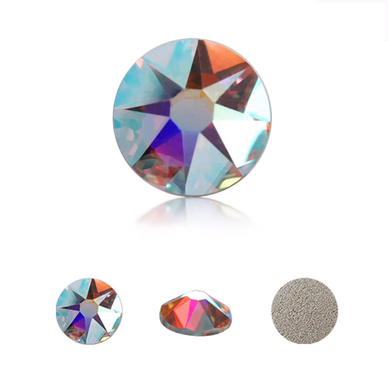 SW 8 Big 8 Small Crystal AB SS16 SS20 SS30 No Hot fix Rhinestone Round Flatback Rainbow Nail Rhinestones For Clothes Decoration