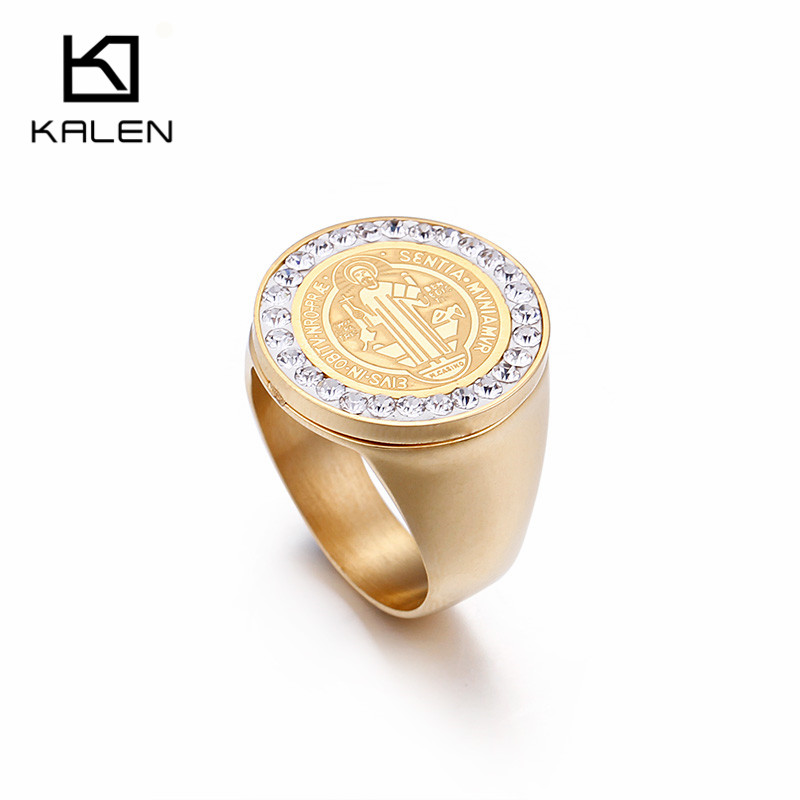 Kalen Saint Benedict Medal Gold Color Stainless Steel Cross Rhinestone 20mm Circle Finger Rings Catholicism Jewelry For Women
