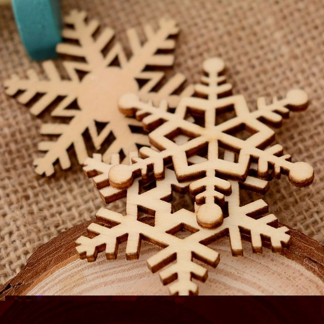 Us 0 8 25 Off 10pcs Set Assorted Wooden Snowflake Laser Cut Christmas Tree Hanging Decor Ornament Christmas Decorations For Home In Party Diy