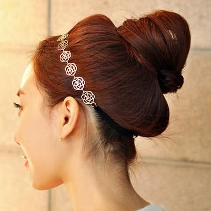 Hair Headdress Fashion Elegant Rose With Fine Hair Cut Hair Band Aug ... 6283b879aea
