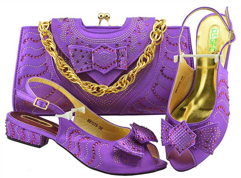 цены New Arrival Fashion African Women 3.5cm Heel Shoes and Bags Italian Shoes With Matching Bag Set For Wedding PartyMM1075