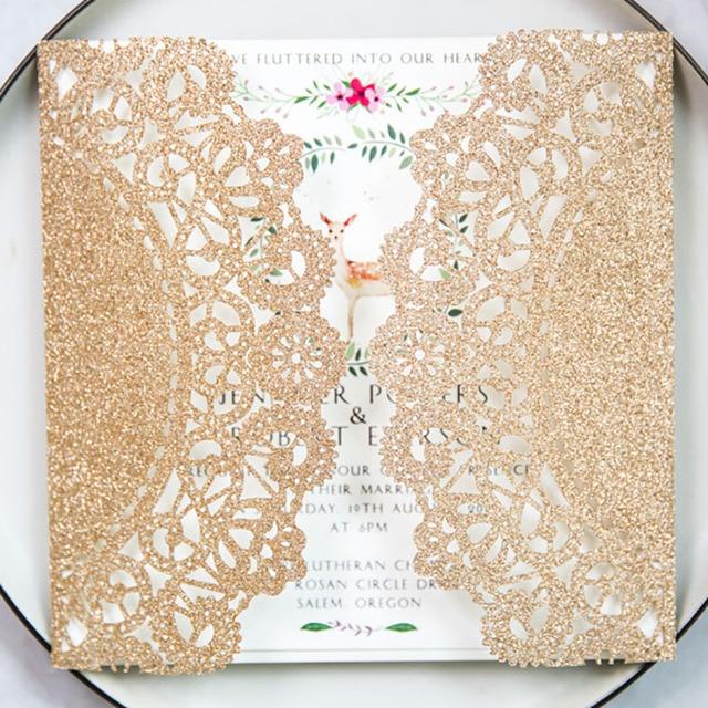 Wholesale 10 Set Gold Flash Paper Lace Pattern Laser Cut Invitations