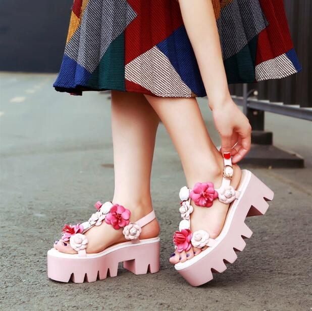 2017 women summer shoes pink sandals slingbacks shoes beautiful 2017 women summer shoes pink sandals slingbacks shoes beautiful students flower sandals open toe thick soles mightylinksfo Gallery