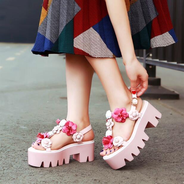 2017 women Summer shoes pink sandals slingbacks shoes beautiful students flower sandals open toe thick soles sandals for women aiykazysdl summer women sandals thick