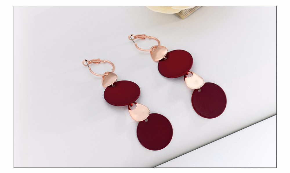 Viennois Fashion Jewelry Blue & Red Dangle Earrings for Woman Rose Gold Color Earrings Trendy Long Round Earrings 9