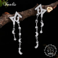 INALIS Crescent Half Moon Star With Cubic Zircon CZ 925 Sterling Silver Drop Earrings For Women