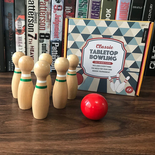 Mini Kayu Bowling Blok Kayu Mainan Untuk Anak Anak Meja Permainan
