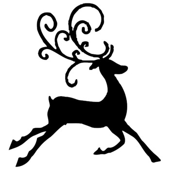 15.4*16.5CM Merry Christmas Jumping Deer Car Sticker Vinyl Car Body Reflective Animal Decals Black/Silver C9-1842 image