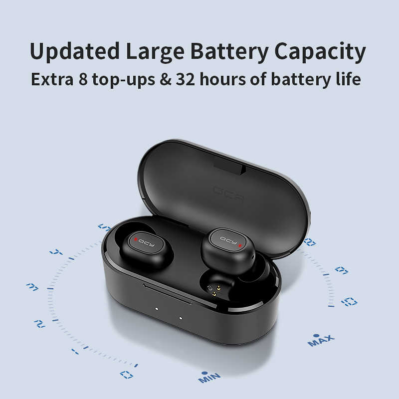 QCY QS2 TWS Bluetooth V5.0 słuchawki T1S 3D Stereo sport bezprzewodowe słuchawki z podwójny mikrofon i etui z funkcją ładowania