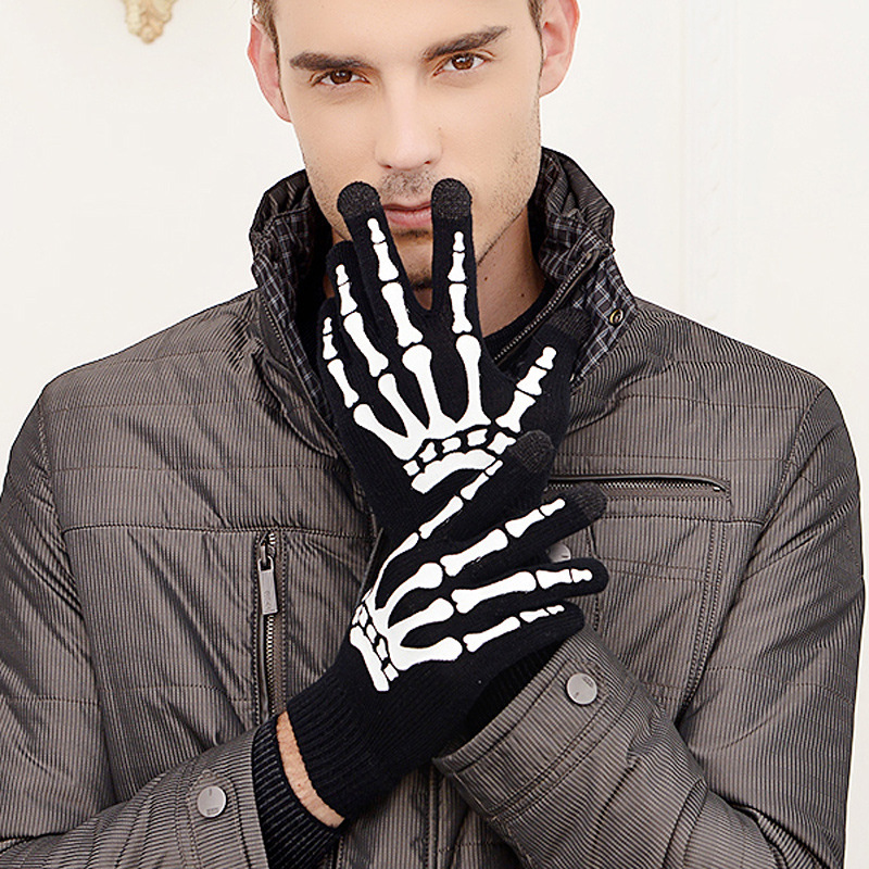 New Winter Men Glove Tactical Touching Screen Skull Claw Bone Flip Keep Warm Gloves Guantes De Cuero