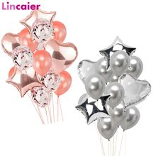 Wedding Decoration 14pcs 18inch Foil Balloon 12inch Confetti Ball Birthday Party Kids Baby Shower DIY Bachelorette Table Supply(China)