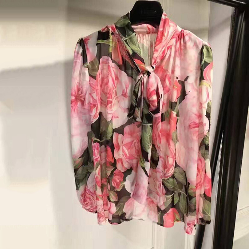 HIGH QUALITY Newest Fashion 2017 Runway Designer Blouse Shirt Women's Bow Collar Gorgeous Rose Floral Printed Shirt Blouse band collar floral blouse