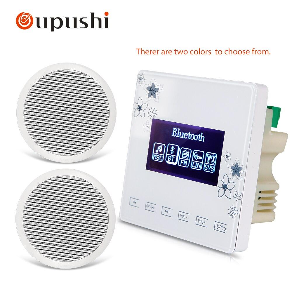 Oupushi A0 + CA024 Pack 5-10 W Plafond Haut-Parleur PA Système Bluetooth Smart Home Fond Musique Contrôleur Amplificateur
