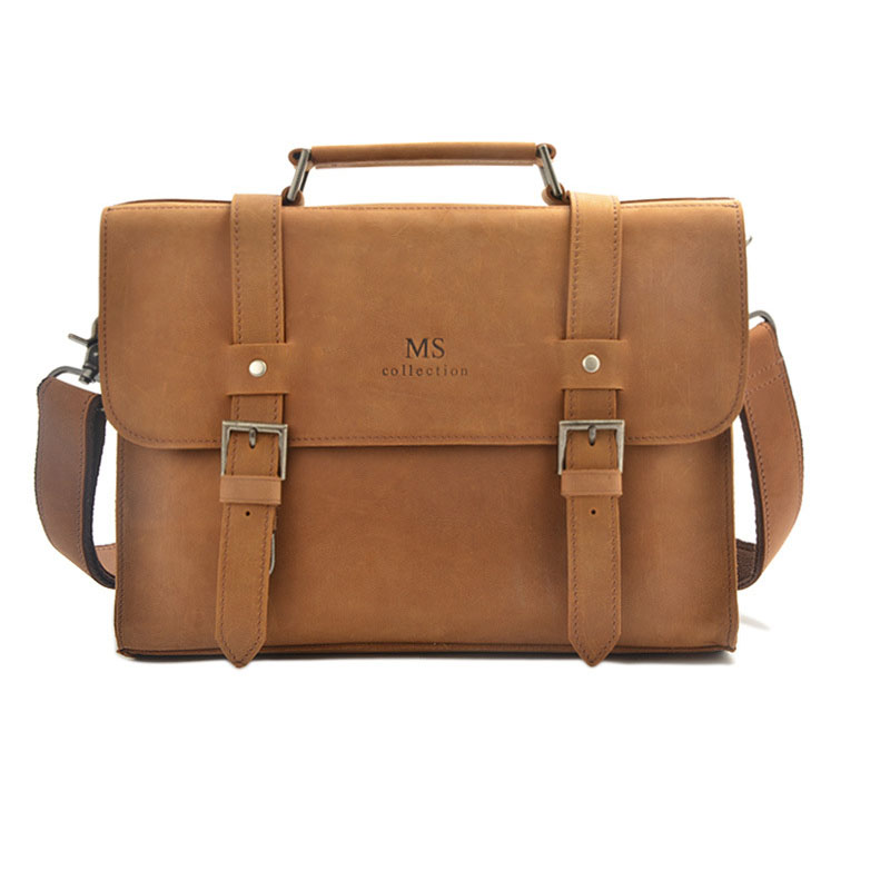 European and American retro first layer leather business briefcase leather men s bag men s and