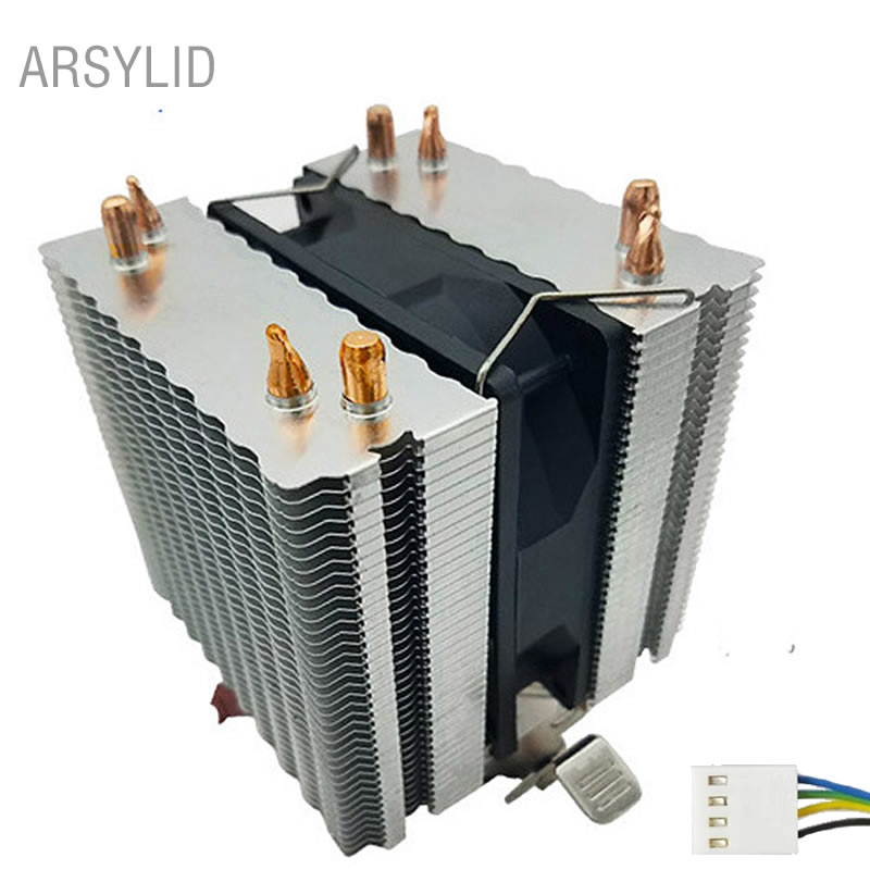 ARSYLID 4PIN 4 heat pipes CPU cooler 9cm cooling fan for Intel LGA775 1151 1366 2011 Cooling for AMD AM3 AM4 radiator fan akasa cooling fan 120mm pc cpu cooler 4pin pwm 12v cooling fans 4 copper heatpipe radiator for intel lga775 1136 for amd am2
