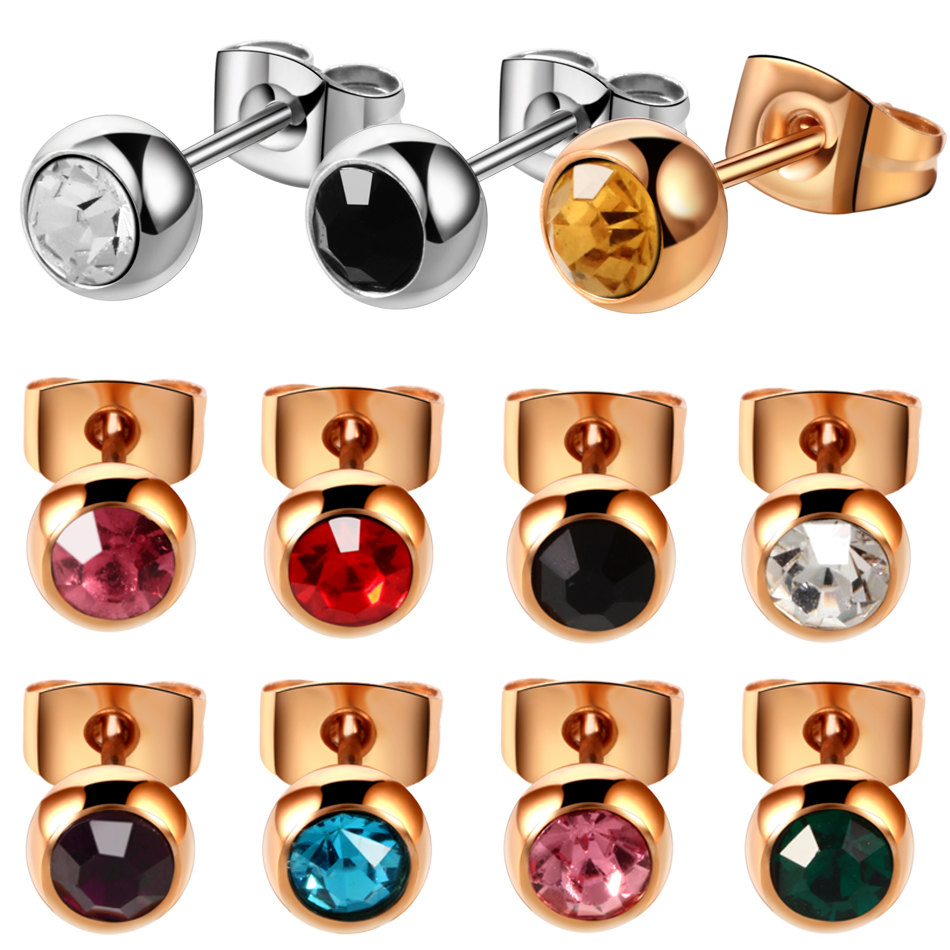 PAIR 316l Surgical Steel Crystal Gem Assorted Colors Ear Stud Piercing Simple Style Screw-Back Earrings Sexy Girls Jewelry 20g colors fashion metal acrylic earrings color assorted 5 pair pack