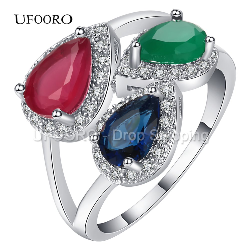UFOORO Large 3 Oval Clear CZ Stone Crystal Silver Plated Ring For Women Jewelry Party Gift 2017 New Finger Ring Luxury Jewellery