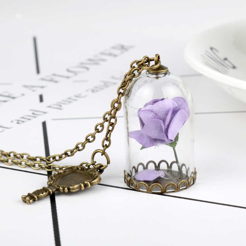 HANCHANG المجوهرات الجمال والوحش الزجاج المجففة زهرة مرآة سحرية زجاجة النحاس قلادة وردة مصنوعة يدويًا عيد الحب هدية الكريسماس