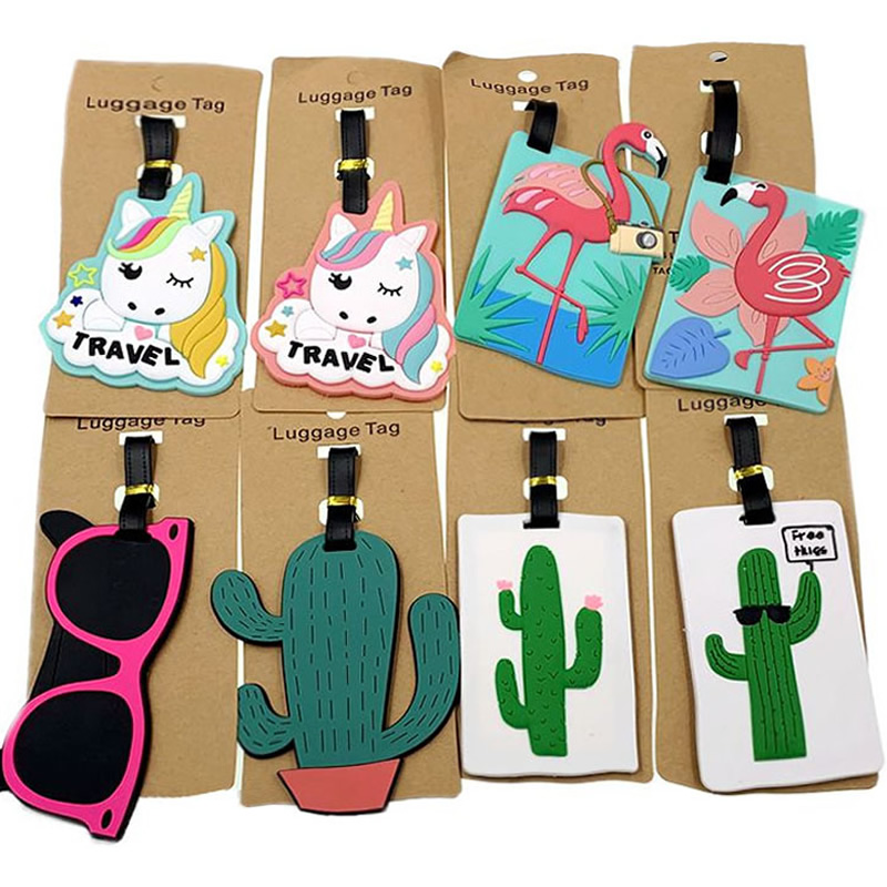 Animal Cartoon Flamingo Luggage Tags Travel Accessories Silica Gel Suitcase ID Addres Holder Baggage Boarding Portable Label