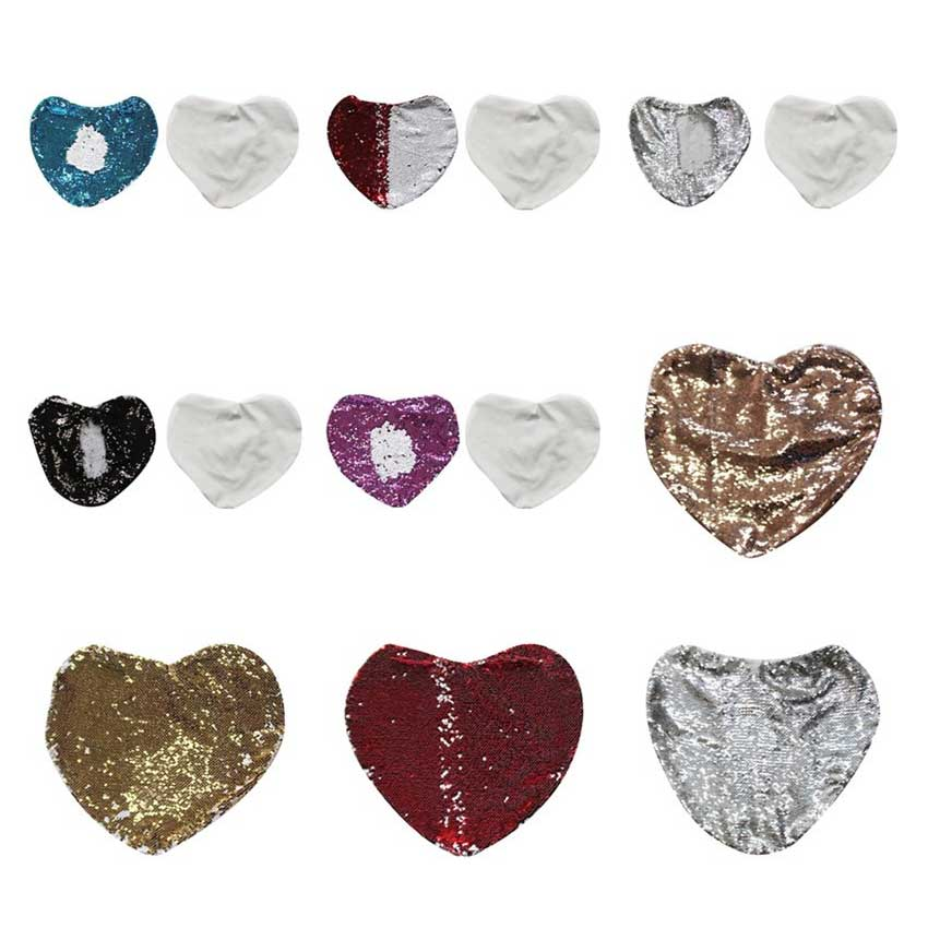 New arrvial sublimation blank sequins heart item consumables hot transfer printing diy custom supplies 10pcs lot
