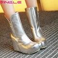 VINLLE Sexy Super Alta Saltos de Cunha Mulheres Sapatos de Inverno Com Zíper Dedo Do Pé redondo Sólida Curto Pelúcia Tornozelo Moda Botas de Senhora Tamanho 32-43