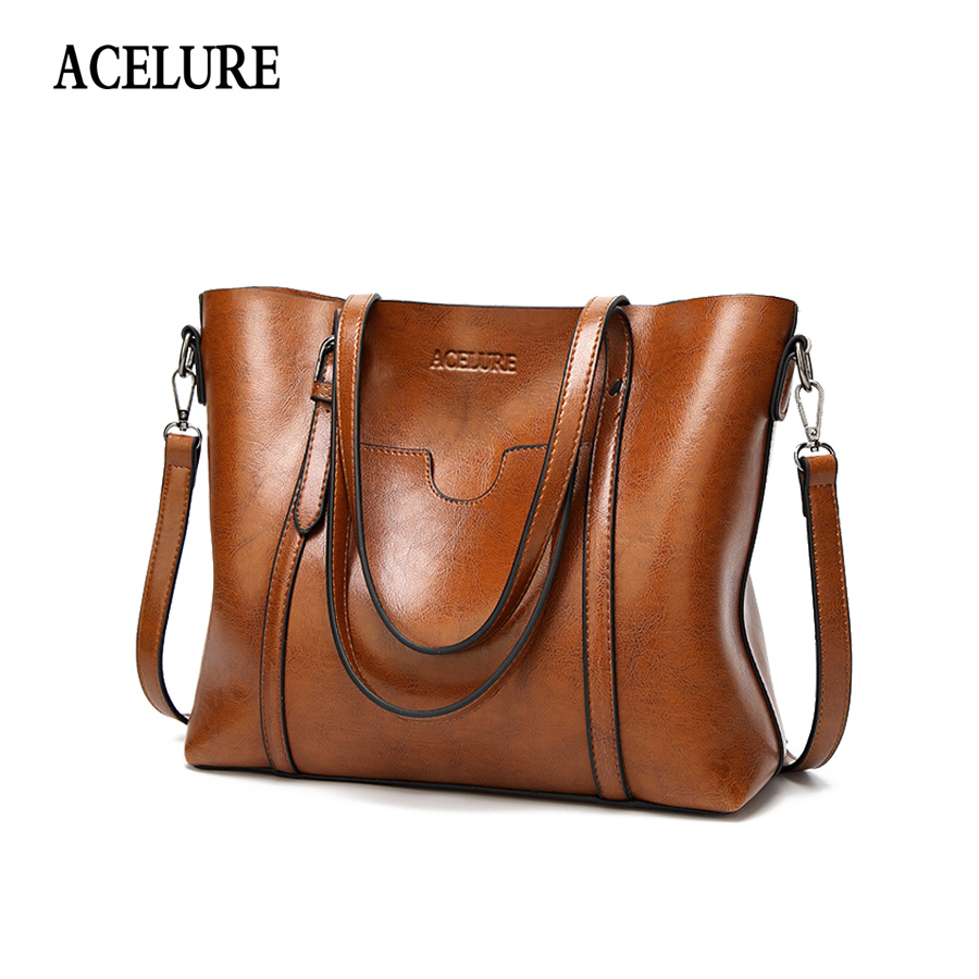 ACELURE Vintage PU Oil Wax Leather Handbag Luxury Lady Shoulder Bag With Purse Pocket Women Messenger Bags Big Tote Bolsas Mujer