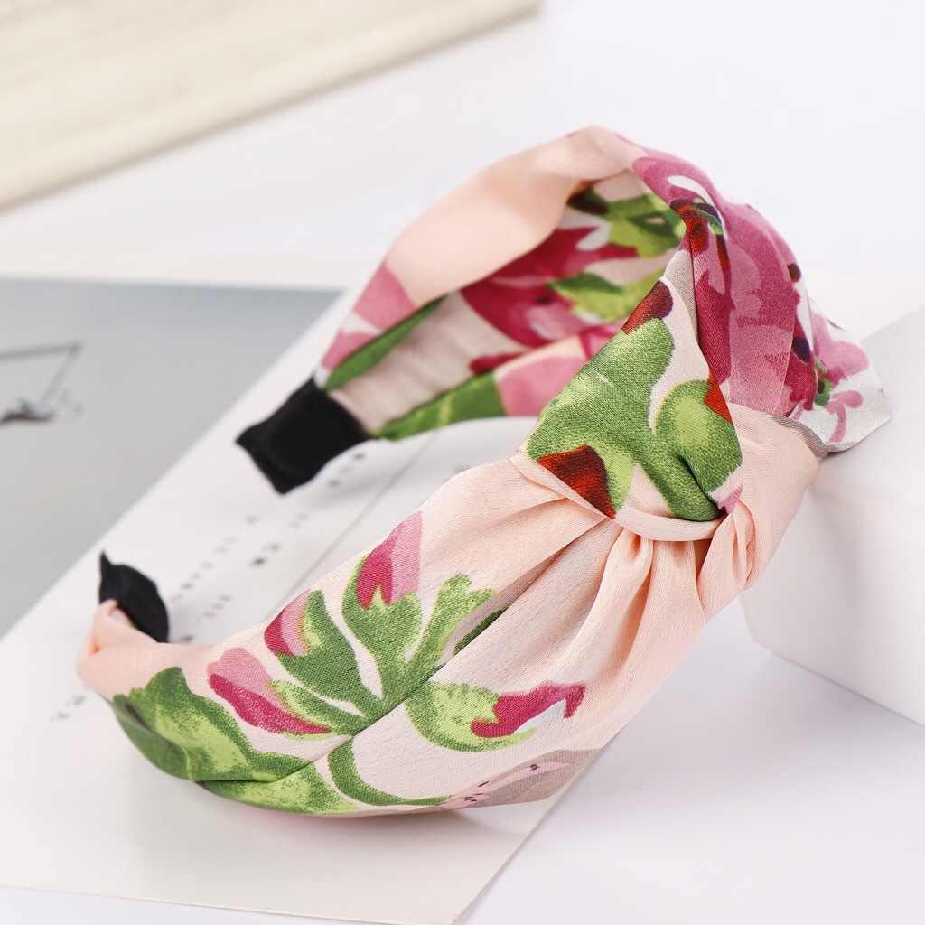 Шелковая повязка с принтом крест для женщин Женская богемная ретро Цветочная эластичная повязка модный атласный бант повязка для волос аксессуары для волос
