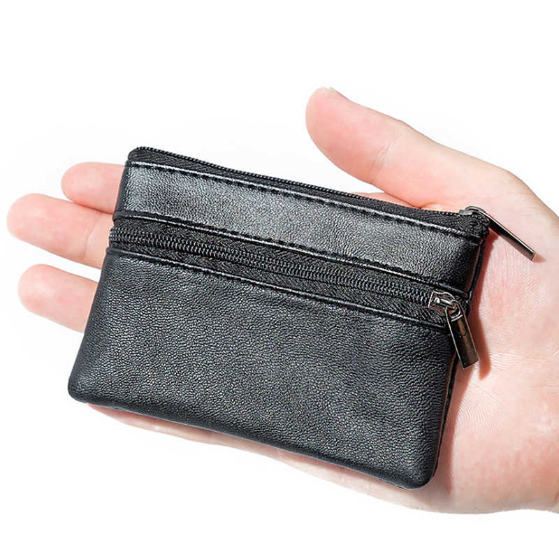 Men Women Leather Coin Purse Wallet Card Coin Key Storage Case Soft Holder Zip Black Mini Coin Bags Pouch Bag Zipper Pouch