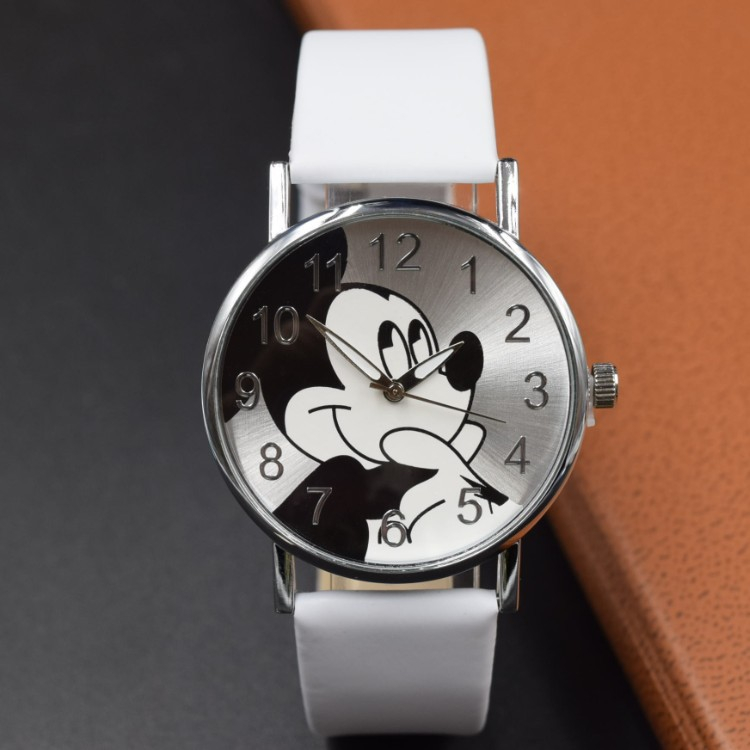2019 Fashion Brand Mickey Mouse Leather Newest Luxury Quartz Watch Lady SlimK Mesh Strap Watch Women Clock Kobiet Zegnino