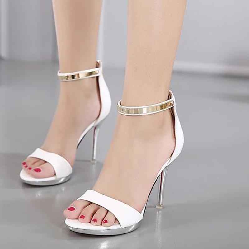 newest f147d 1e5a2 Strappy tacchi sandali bianchi scarpe Estive peep toe tacchi ...