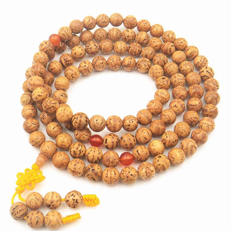 BRO528 Tibetan 108 Polished Triangle Dragon Eye Bodhi Seeds Prayer Malas 12mm for Man
