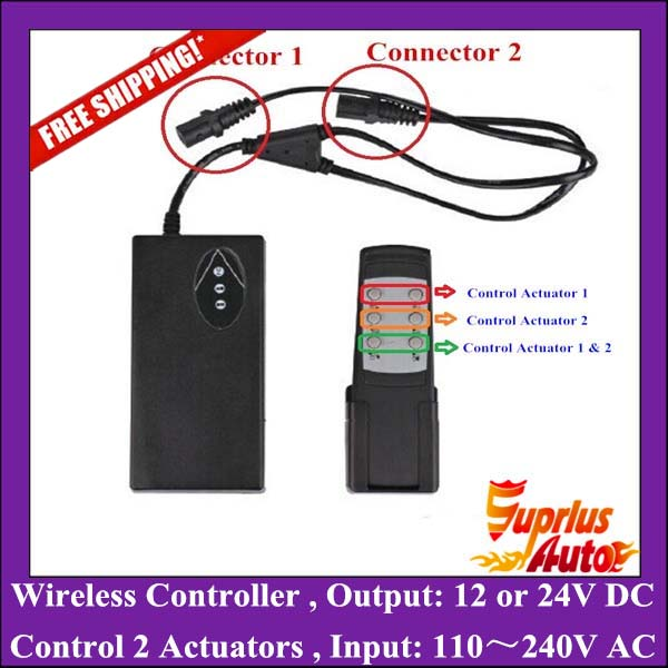 цена на Wireless Controller 110-240V AC input 24V or 12V DC output with wireless remote control Double Linear Actuators