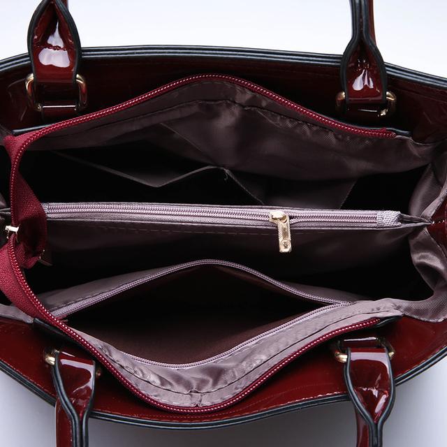 3Pcs Luxury Patent Leather Handbags Women Bags Designer Brand Famous Tote+Female Shoulder Crossbody Bags+Clutch Purse Bag Sets