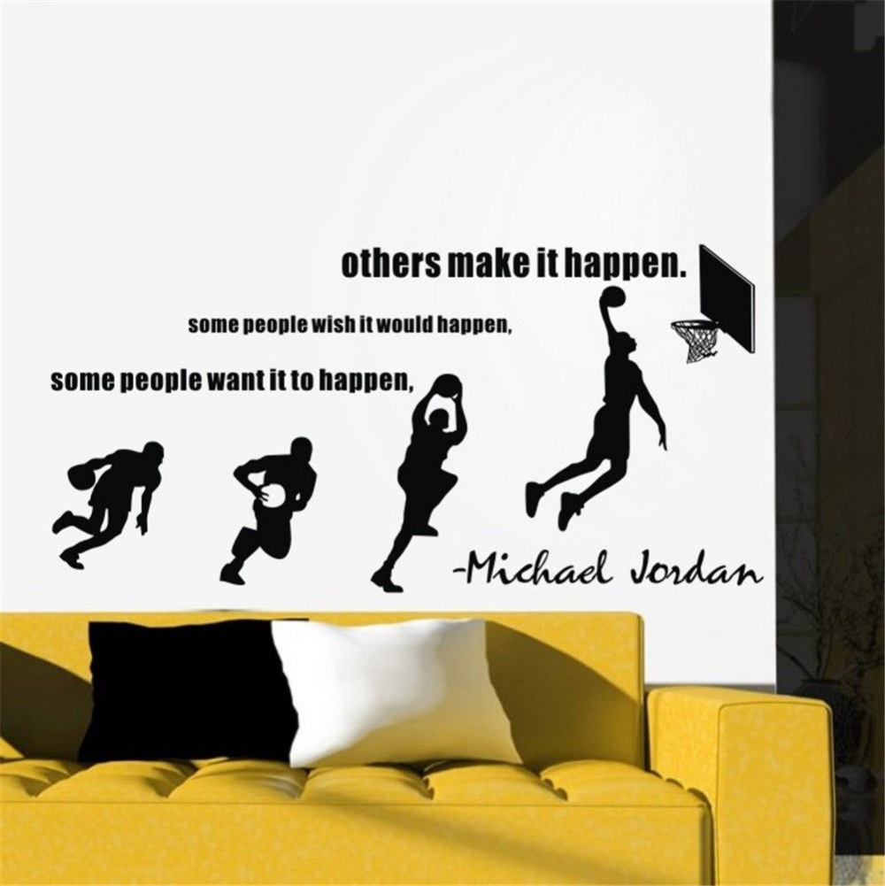 aliexpresscom buy michael jordan wall decals basketball dunk sport wall stickers decal stride lay up sports quotes room decor size 11455cm from reliable