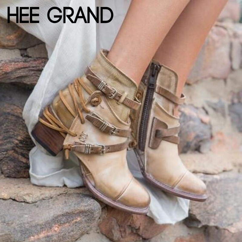 HEE GRAND Sexy Platform Western Ankle Boots Women Pointed Toe Shoes Slip on Solid Color Ankle Boots Shoes Size 35-43 XWX7127 hee grand pearl ballet flats 2017 crystal loafers bling slip on platform shoes woman pointed toe women shoes size 35 43 xwd4960