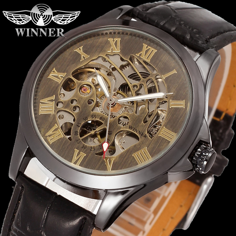 Skeleton Automatic Mechanical Wristwatch Watch Men Watches Top Brand Luminous Hands Gold Genuine Leather Strap Business Fashion automatical mechanical watches men luxury brand watch male clock leather wristwatch men skeleton casual business gold watch
