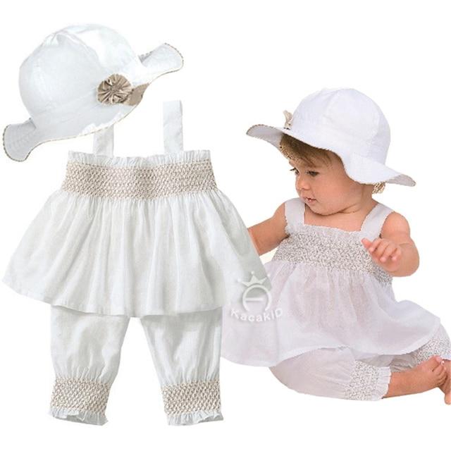 Fashion Girl Children Summer Clothing Sets Sleeveless Flower White Tops + Trousers + Hat 3pcs European Style Baby Girl Clothing