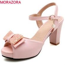 0b831edea MORAZORA 2018 venda quente mulheres sandálias rosa doce bowknot sapatos de  verão peep toe elegante prom
