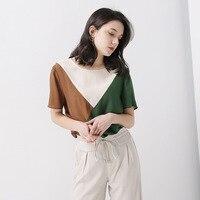 Summer Oversize Silk T Shirt Women Fashionable Contrast T shirt Short Sleeve Loose Tees Ladies Tops Harajuku Pullover Casual ins
