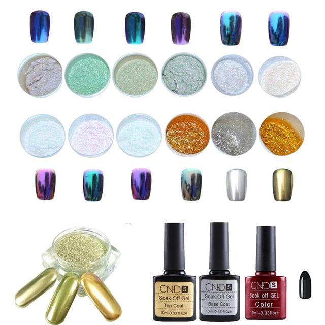 Beauty Girl Hot Popular 1 Set 12 Colors Nail Art Shinning Mirror Glitter Powder Chrome Pigment Black UV Gel Top Base Coat Oct 20