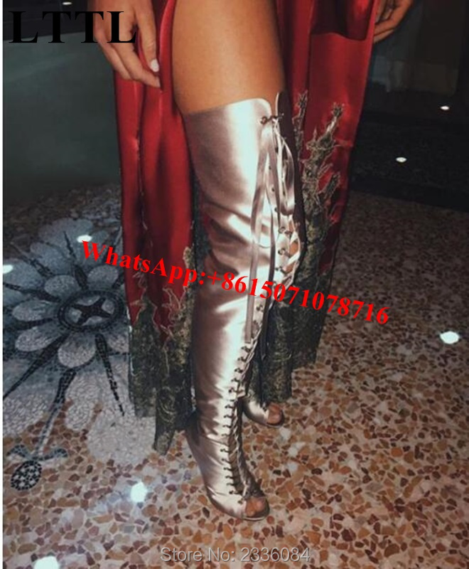 2017 Sexy High Heels Over The Knee Thigh High Boots Lace Up Womens Booties Kim Kardashian Shoes Woman Gladiator Botines Mujer