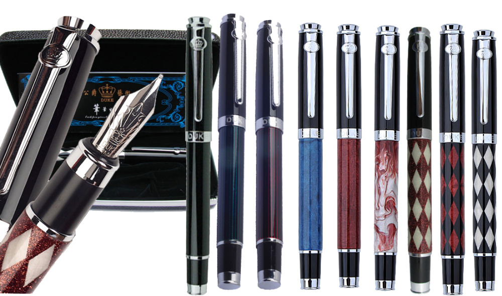 Classic Fountain Pen M Iridium Nib or Gel RollerBall pen original DUKE 116 stationery wholesale 12pcs/lot Free Shipping hero 573 black silver square grid senior iridium fountain pen fountain pen classic free shipping