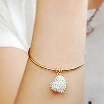FAMSHIN Brief kid full rhinestone heart cutout carved bracelet Golden Plated & Silver Plated two-color bracelet