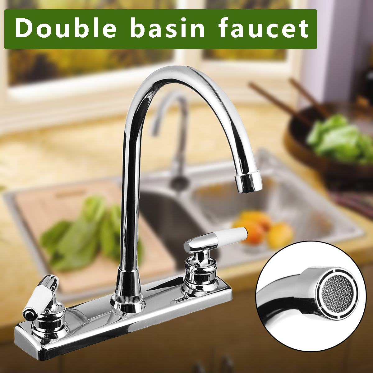 Xueqin Silver Double Handle Double Basin Kitchen Faucet Tap Single Hole Water Tap For Torneira Cozinha