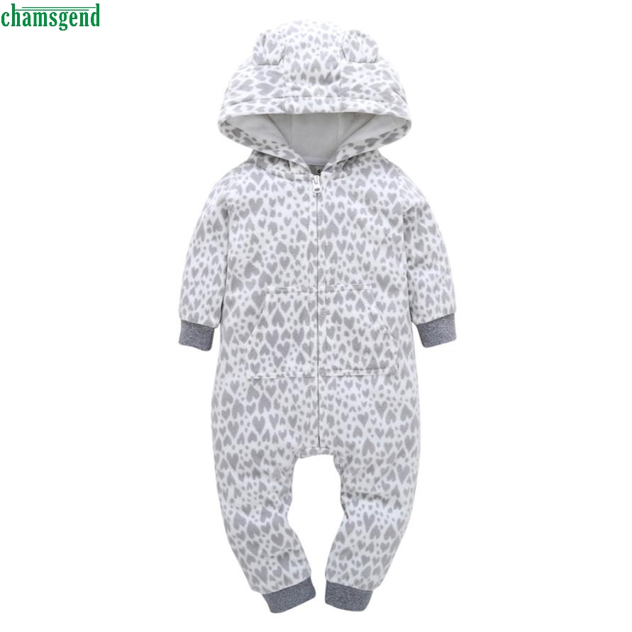 CHANGEND Infant Baby Boy Girl Thicker Heart Print Hooded Romper Jumpsuit Home Clothes H30 Oct1