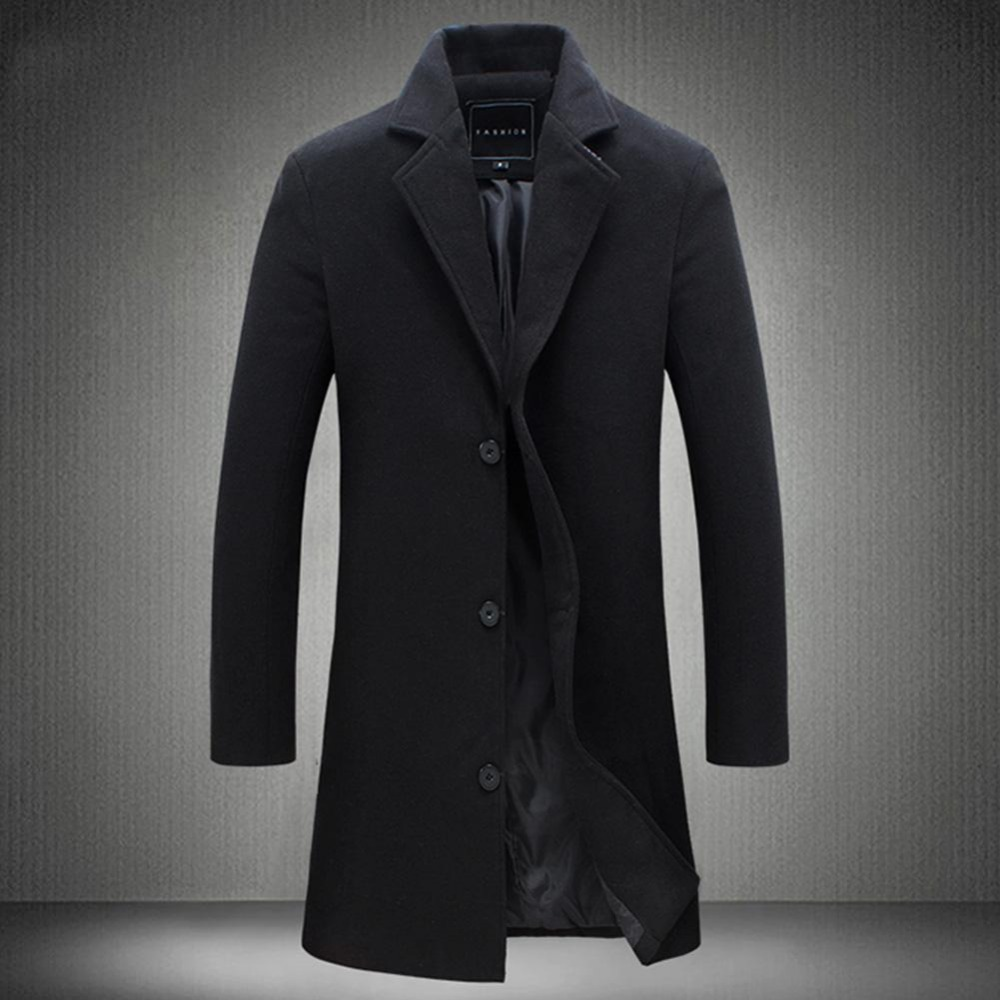 19 Fashion Men's Wool Coat Winter Warm Solid Color Long Trench Jacket Male Single Breasted Business Casual Overcoat Parka 9