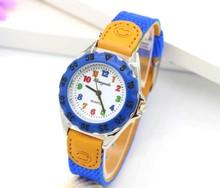 High Quality Blue Boy Black Watch Girl Kids Children's Gift Fabric Strap Learn Time Tutor Student Wristwatch 1486